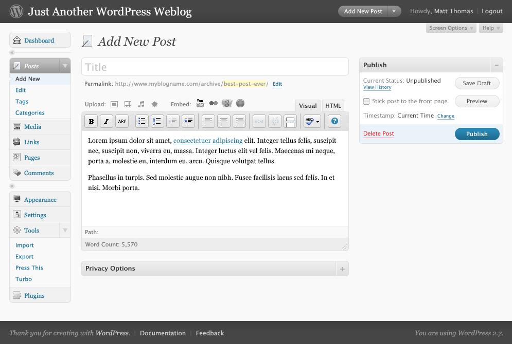 Wordpress 2.7 New post