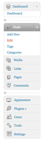 Wordpress.com dashboard menu, dec 2008