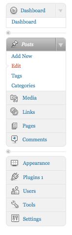 Wordpress.com dashboard menu, dec 2008