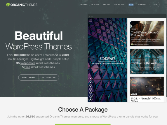 Organic Themes home page